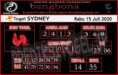 Prediksi Bangbona Sydney Rabu 15 Juli 2020