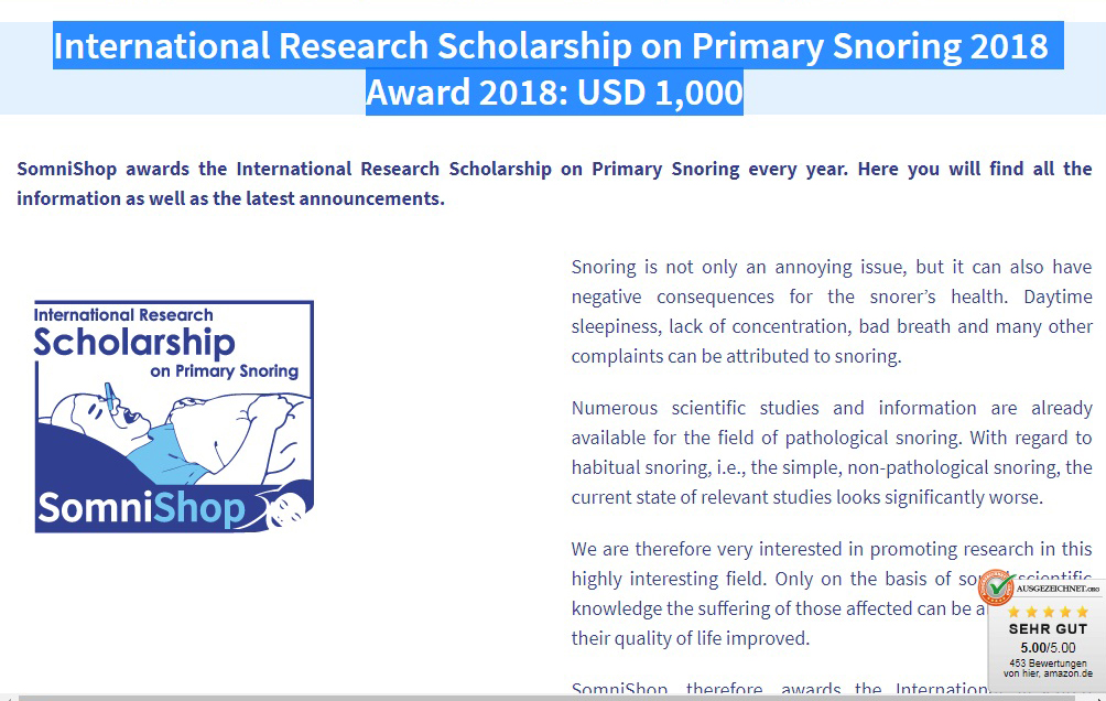 International Research Scholarship on Primary Snoring July 2018