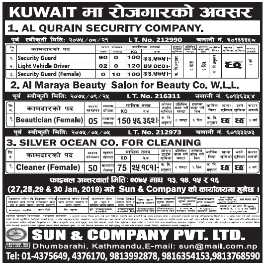 Jobs in Kuwait for Nepali, salary Rs 56,362