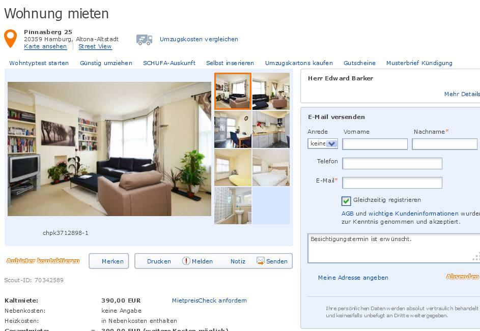 alias herr edward barker wohnung mieten vorkassebetrug fraud scam. Black Bedroom Furniture Sets. Home Design Ideas