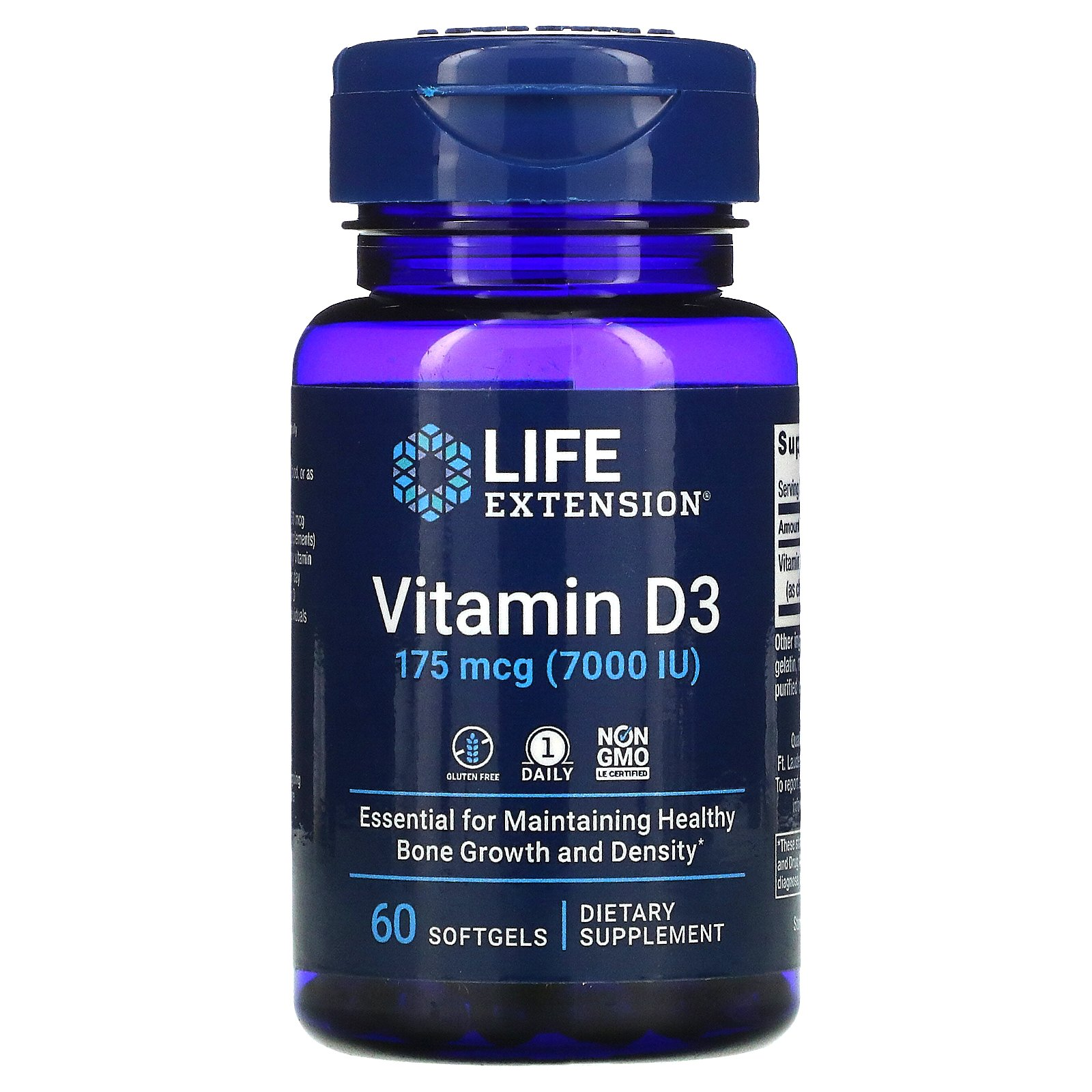Life Extension, витамин D3, 175 мкг (7000 МЕ), 60 мягких таблеток