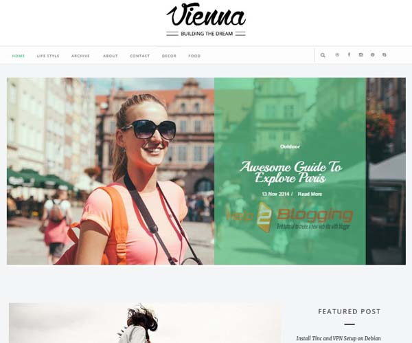Vienna Responsive, Clean- Simple design  Technology, Fashion, Magazine etc blog design  White color  Stylish Slideshow  Drop Down Menu  Page navigation menu  2 Columns full page  Post Thumbnails  Right Sidebar  Minimalist  SEO Ready  Email Subscription Widget Ready  Social Bookmark Ready Blogger Template Free Download