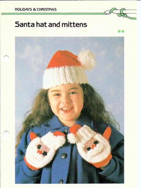 santa christmas mittens gloves crochet pattern