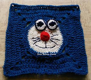 free crochet pattern, free crochet granny square pattern, free crochet mitered square pattern, free crochet Doraemon pattern, Free crochet Doraemon motif pattern, free crochet Doraemon granny square pattern, crochet donation ideas, Project chemo crochet, Oswal Cashmilon, Pradhan stores,
