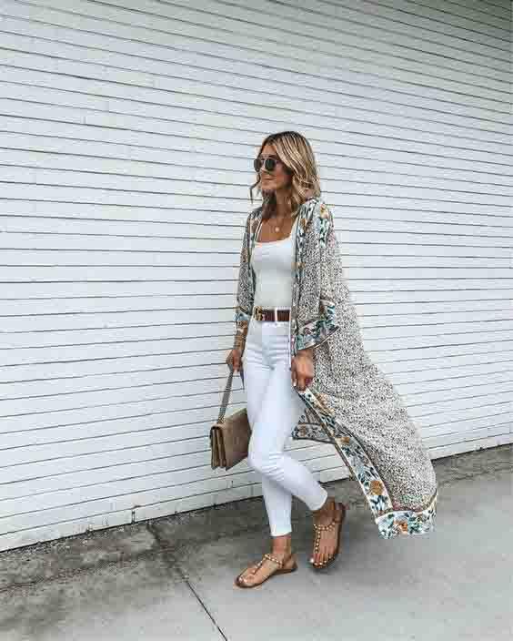 Kimono e look total white