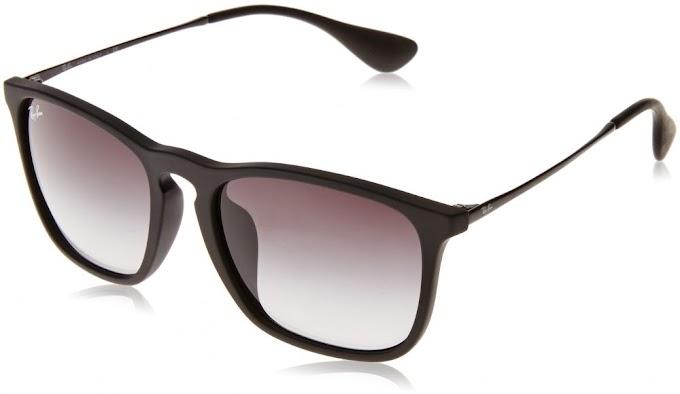 نظارات شمسية مربعة للرجال من Ray-Ban، مطاط أسود، 53. 8 مم