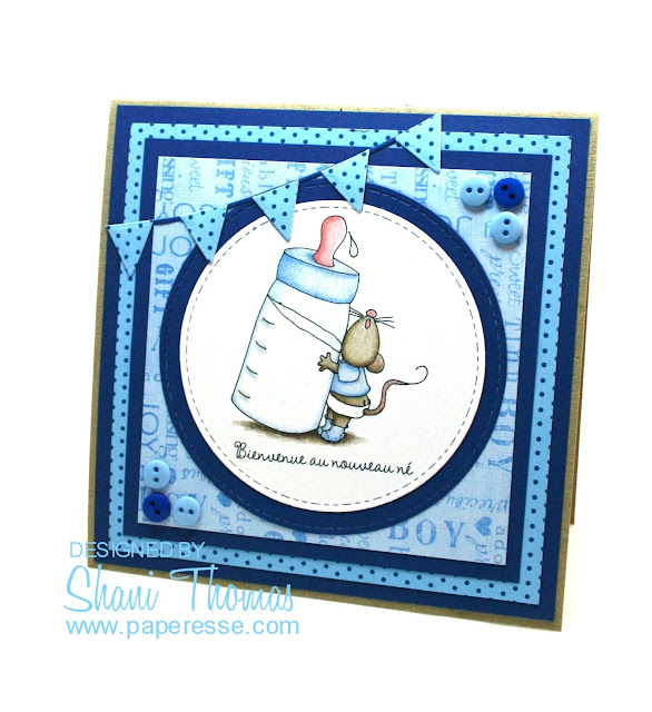 Bienvenue au nouveau né – Welcome newborn – baby boy card, featuring Dearie Dolls free Baby Boy Mousie digital stamp, by Paperesse.