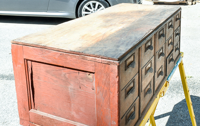 Damage  to vintage card catalog