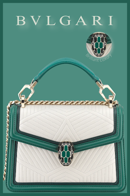 Bvlgari Serpenti Diamond Blast top handle bag in white agate quilted nappa leather and emerald green smooth calf leather frames #brilliantluxury