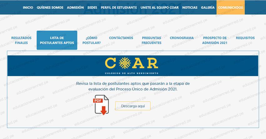 COAR: Lista de Postulantes Aptos - Etapa de Evaluación 2021 (.PDF) Colegios de Alto Rendimiento - www.minedu.gob.pe