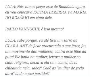 """Lula chama petistas de as """"mulher de grelo duro"""" do partido"""