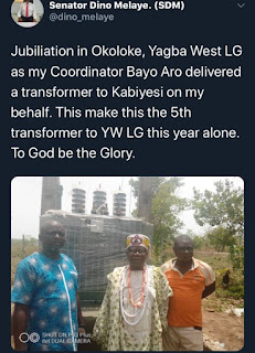 Former lawmaker, Dino Melaye gives transformer for the 5th time to community in Kogi State