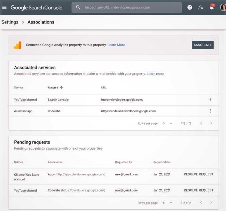 Google Search Console Tampil dengan Halaman Asosiasi Baru