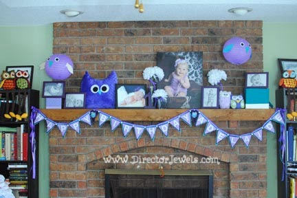 Baby Girl Purple and Teal Turquoise First Birthday Owl Party www.directorjewels.com - Banner, Plush Owls, Lanterns, Photo Display, Huggable Hoots, TZ Burps!, Etsy, Adelaide's Attic