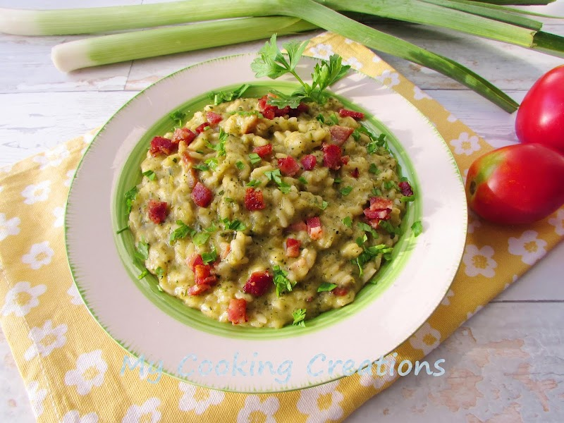 Ризото с крем от тиквички и бекон * Risotto con crema di zucchine e pancetta