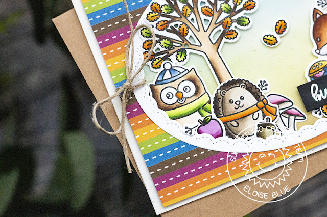Sunny Studio Stamps: Woodsy Autumn Fluffy Clouds Frilly Frames Dies Bundle Of Hugs Card by Eloise Blue
