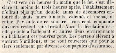 Extrait du récit paru dansFilature Levavasseur sur l'Andelle - Fontaine-Guérard - incendie 1874 L'Illustration