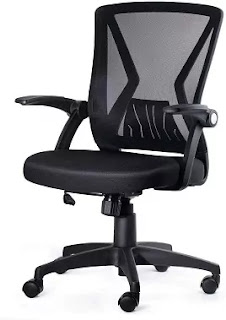 Black Mesh Office Chair with Lumbar Support Ergonomic Design