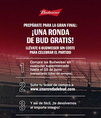 Reembolso para probar gratis cerveza marca Budweiser