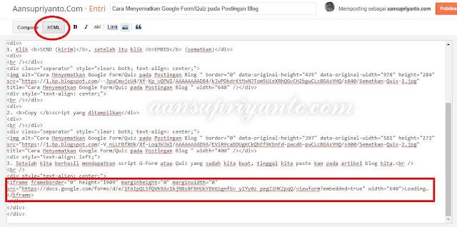 Cara Menyematkan Google Form/Quiz pada Postingan Blog