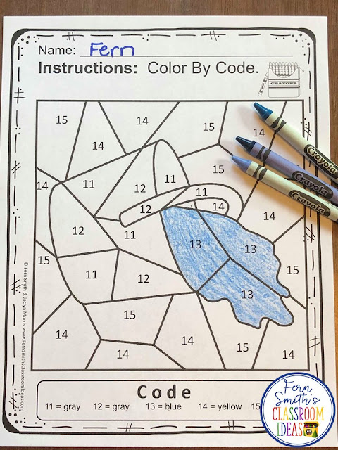 Color By Number For Math Remediation Numbers 11 to 15 Jack and Jill Went Up the Hill
