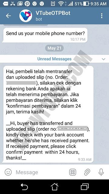 withdraw vtube, cara cairkan uang vtube, kiriman telegram pembeli sudah tranfer