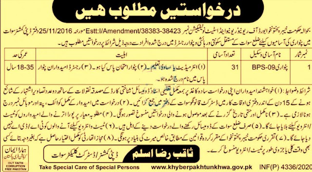 APPLICATIONS REQUIRED FOR VACANT POSITION   OF PATWARIS