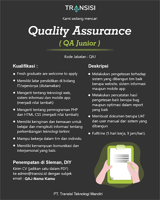 Lowongan Kerja Quality Assurance