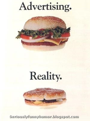 Advertising versus Reality cheeseburger