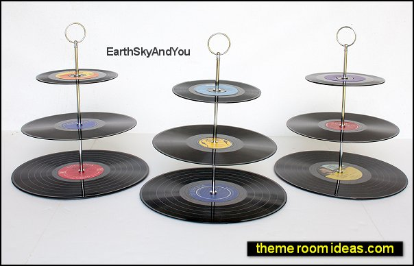 RECORD Cupcake stands. 3 tier wedding cup cake stand, unique music decorations, sock hop disco rat pack 1950s vintage, 1980s birthday party
