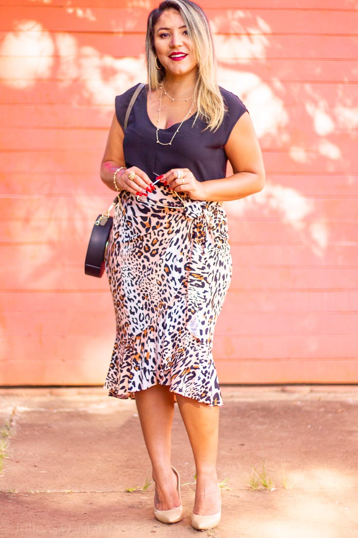Look do dia: Saia midi animal print