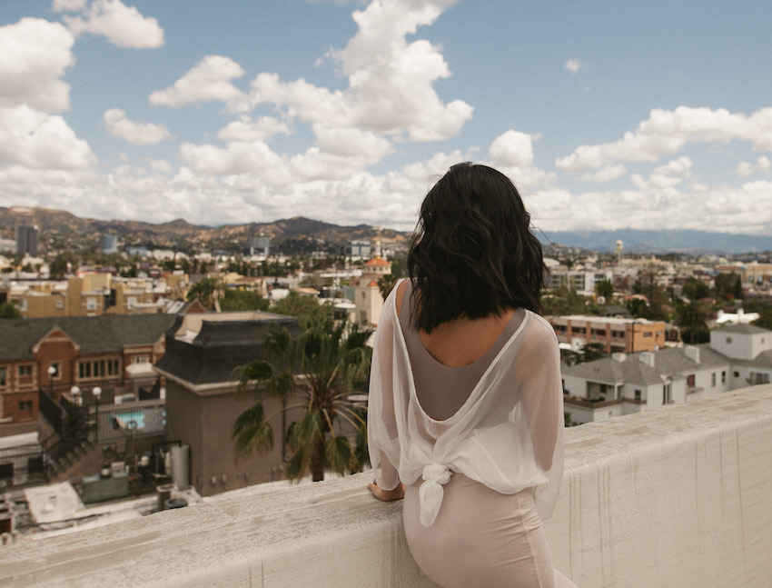 Honey & Silk wearing True & Co. Intimates for Spring