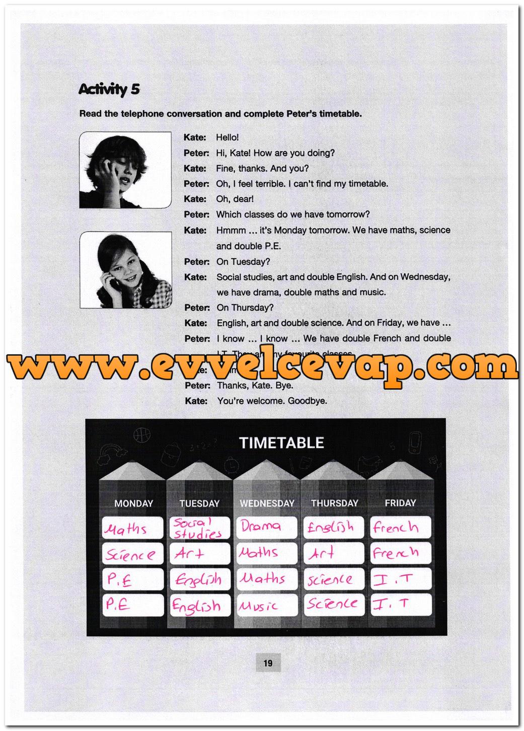 5. Sınıf Özgün Yayınları İngilizce 19. Sayfa Cevapları