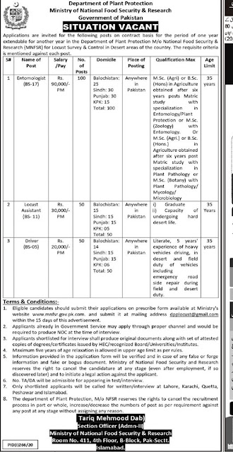 Ministry of National Food Security & Research Jobs 2020