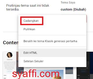 12. Pilih Cadangkan sebelum Edit HTML pada Blogger
