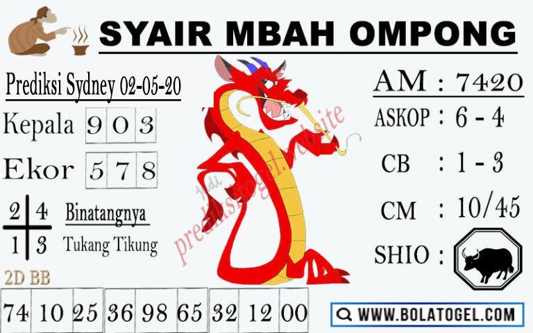 Prediksi Sydney 02 Mei 2020 - Syair Mbah Ompong