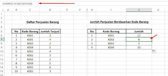 cara penjumlahan berdasarkan beberapa kategori di excel dengan sumif