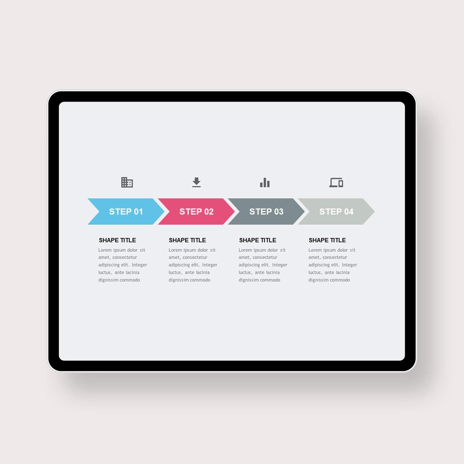 Horizontal Process Description PowerPoint Templates 1