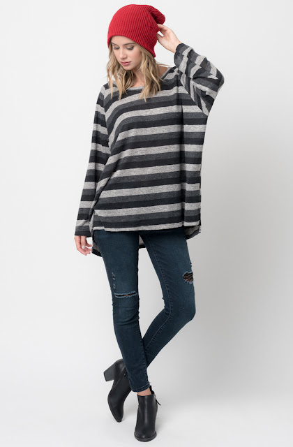 Shop for Black Hi Lo Long Sleeve Dolman Striped Sweater Tunic online $38 on Caralase.com