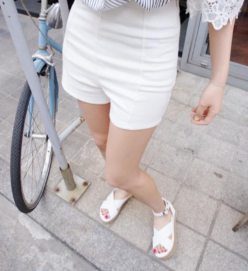 Pintucked High Waist Shorts