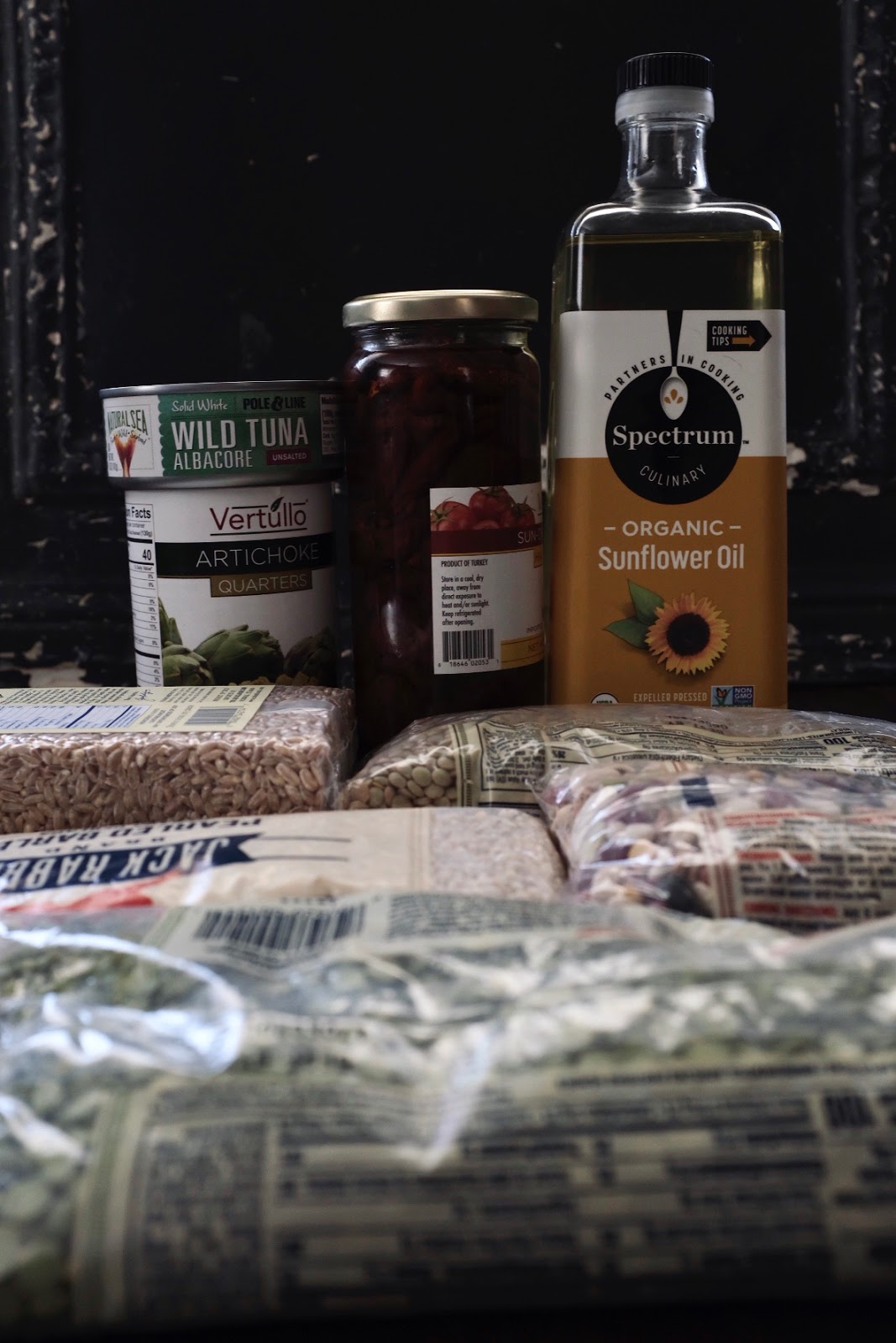Stock your pantry with items like canned tuna, dried beans, grains, oil | Local Food Rocks