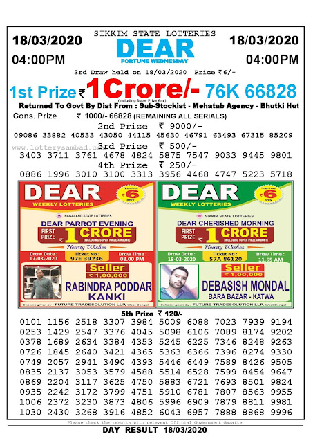 Sikkim State Lotteries 18-03-2020 Lottery Sambad Result 04:00 PM