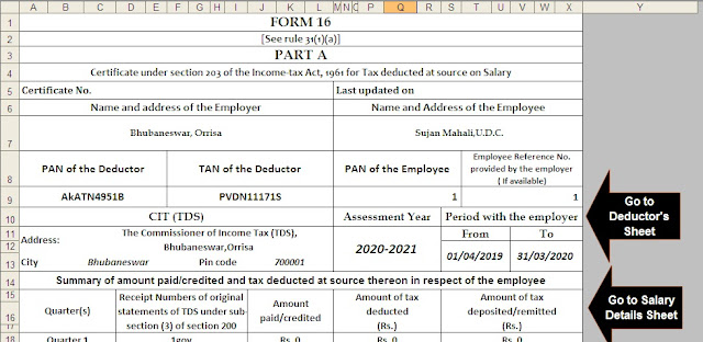 Download and Prepare at a time 100 Employees  Automated Income Tax Form 16 Part A&B For F.Y. 2019-20 & A.Y. 2020-21 ( Modified Format of Form 16 Part B [ As per the CBDT Notification No.36/2019 Dated 12/04/2019 3