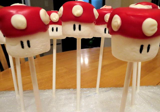 Mario Mushroom Marshmallow Pops - Close Up