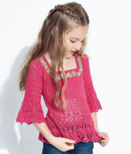 Blusa infantil Charminho em Crochê feita com Lançamento da Círculo