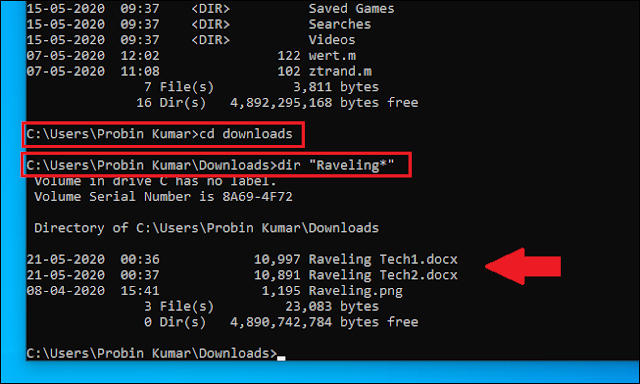 cd command for Windows CMD