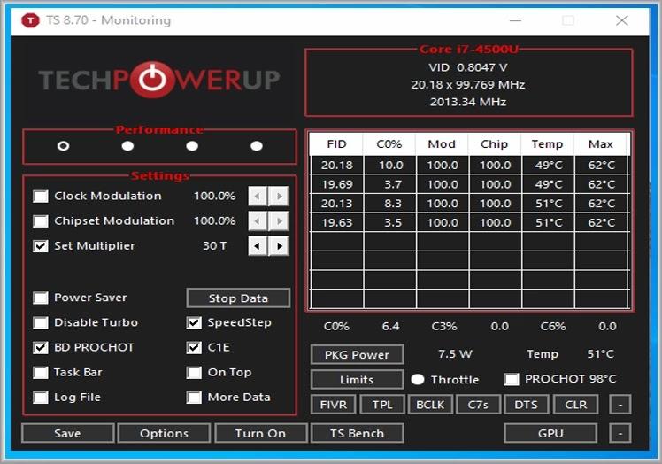 ThrottleStop : Ανεβάστε στο μέγιστο την απόδοση της CPU του υπολογιστή σας