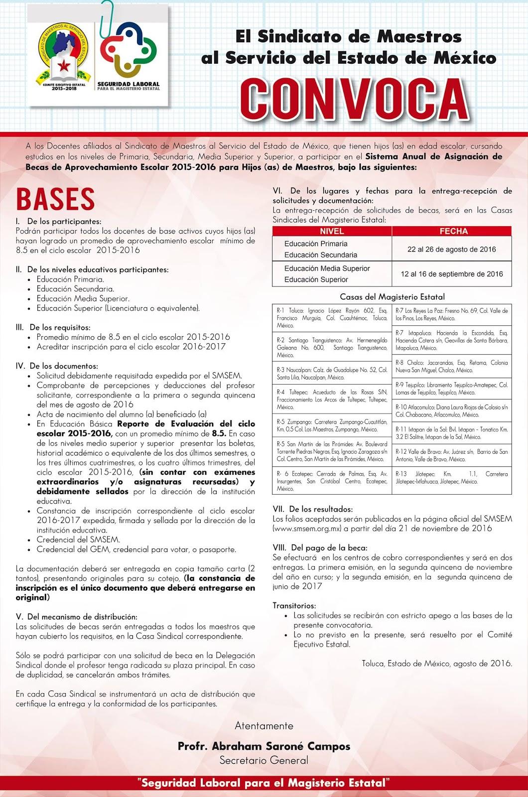 Sindicato de maestros al servicio del estado de m xico Convocatoria para las plazas docentes 2016