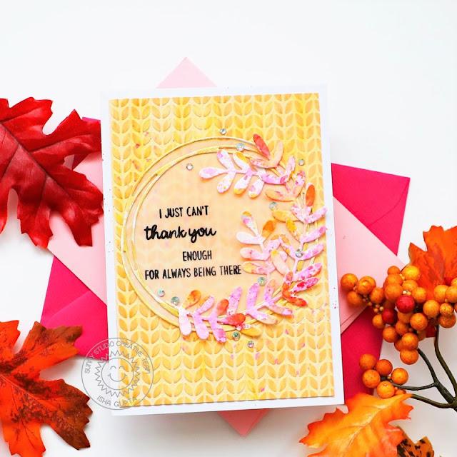 Sunny Studio Stamps: Words Of Gratitude Winter Greenery Dies Snowflake Circle Dies Card by Isha Gupta
