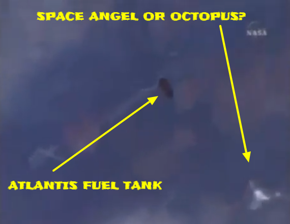 The space Angel in relation to the Atlantis fuel tank.